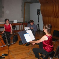 "Mexico City Woodwind Quintet in rehearsal for world premiere of ""Away, Tear Away,"" 2004."