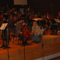 "In rehearsal with the Paul Marleyn and the Belgrade Philharmonic Orchestra for ""Cello Concerto,"" 2005."